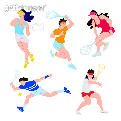 Tennis players set. Tennis sportsman group boys and girls in dynamic. Used for flyer, banner sporting events, packing sports goods. Cartoon flat vector illustration isolated object.