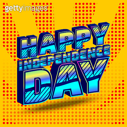 Happy Independence Day Pop Art banner