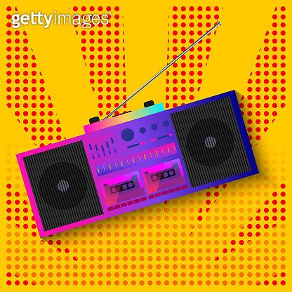 Cassette tape recorder pop art banner