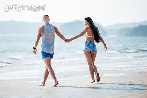 Partners for life spending romantic day out near the beach
