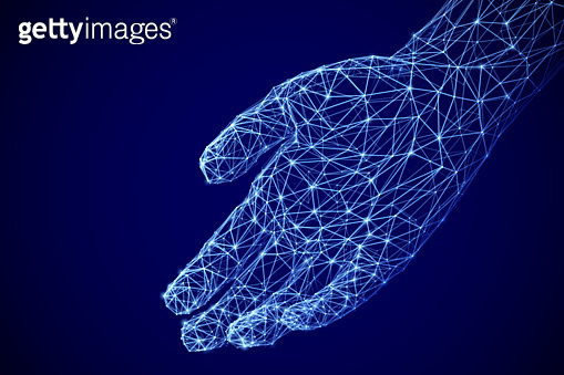 Digital open palm offering something. Assistance or inviting gesture. Information technology or artificial intelligence background.