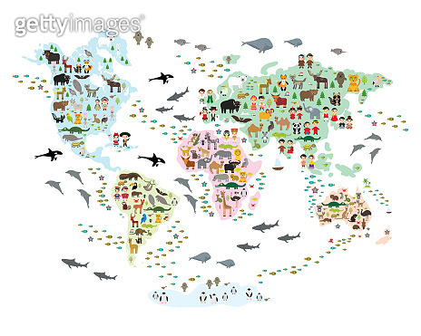 Cartoon animal world map for children and kids, back to schhool. Animals from all over the world white continents islands isolated on white background of ocean and sea. Scandinavian decor. Vector