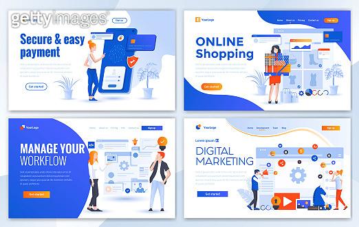 Flat Modern design of website template - E-commerce
