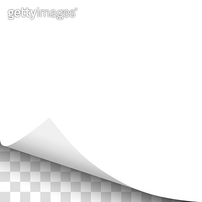 Sheet of white paper with curled lower left corner, soft shadow and transparent background under it. Element with space for text, ad and other aims. Template paper design. Vector illustration.