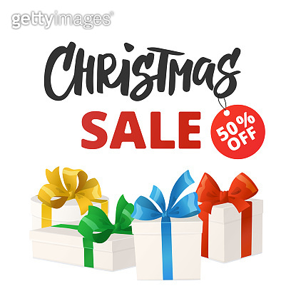 Christmas sale banner with discount tag. Cartoon gift boxes isolated on white.