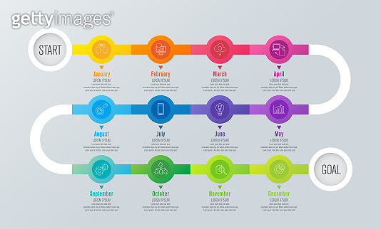 12 months timeline infographics design vector and business icons.
