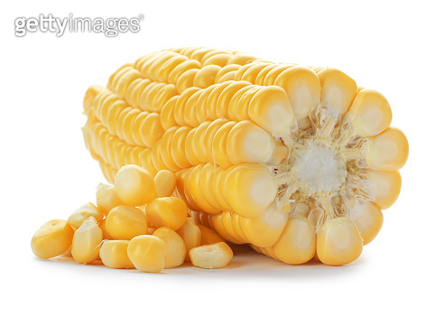 Tasty sweet corn cob on white background