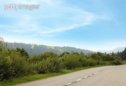 Picturesque landscape with road in mountains