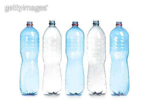 Plastic bottles on white background. Recycle concept