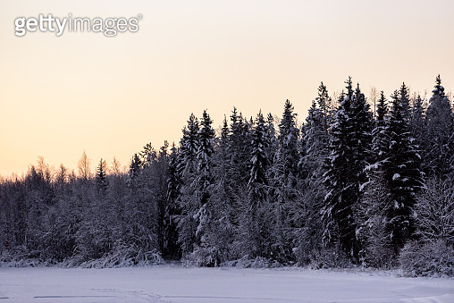 The ice lake and forest has covered with heavy snow and sunset sky in winter season at Holiday Village Kuukiuru, Finland.