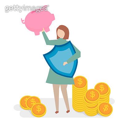 Illustration of financial insurance concept