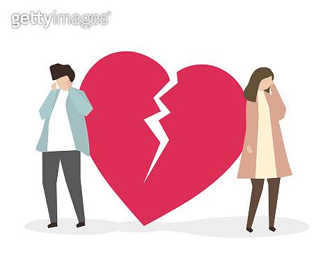 Couple with broken heart illustration