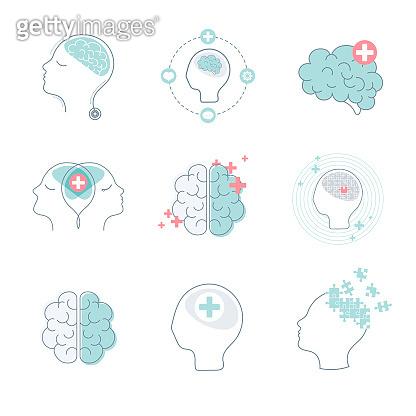 Medical brain icons