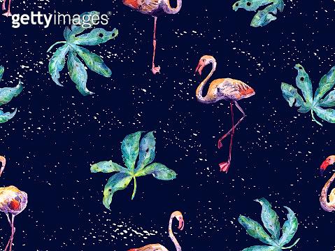 Large flamingo green hawaiian seamless pattern.