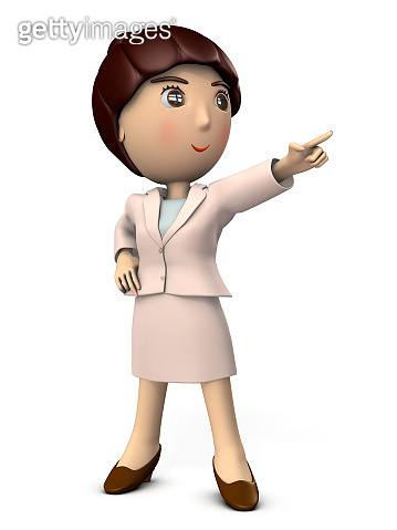 A young woman pointing at the goal. She is wearing a suit. High angle, 3D illustration