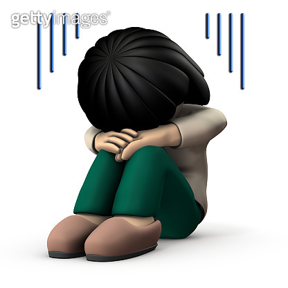 The girl hides her face and is very sad. 3D illustration. White background.