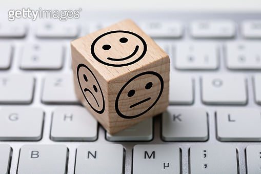 Service Satisfaction Survey Dice On Keyboard