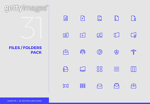 Vector Line Icons Multimedia Files Pack