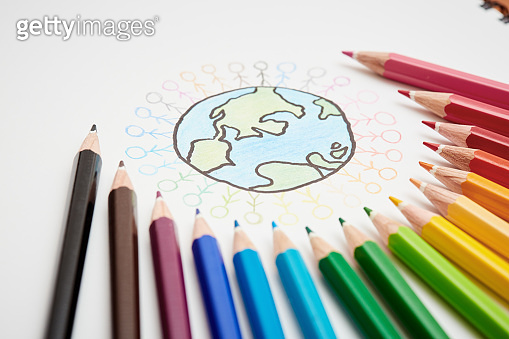 Sketch of Earth surrounded by stick figures and multicolored crayons