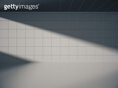 Empty concrete room and lateral lights,3D rendering