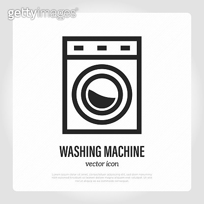 Washing machine thin line icon. Household equipment. Vector illustration.