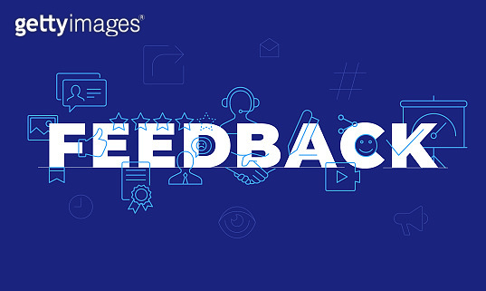 Feedback word concept Employee engagement. Customer satisfaction. Isolated lettering typography idea with line icons. Review and advices Vector illustration banner
