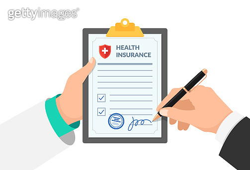 Doctor agent or medical officer hand holding clipboard with insurance policy form and patient signs agreement protection document. Make deal medicine compensation contract vector illustration