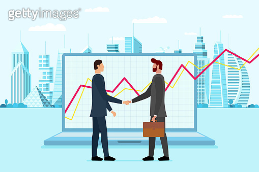 Businessman made deal with financial broker near laptop with incremental profit growth on screen and modern city metropolis. Online job trading market increase dividend concept. Vector ilustration