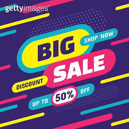 Big sale shop now - concept banner vector illustration. Discount up to 50% off creative poster layout. Promotion abstract shopping tag label.