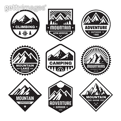 Set of adventure outdoor concept badges, camping emblem, mountain climbing emblem in flat style. Exploration sticker symbol. Creative vector illustration. Graphic design in black and white colors.