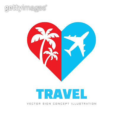 Summer travel - concept business sign vector illustration. Heart silhouette with palms trees and airplane. Graphic design element.