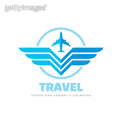 Air travel - concept business sign vector illustration. Airplane and wings creative sign. Graphic design elements.