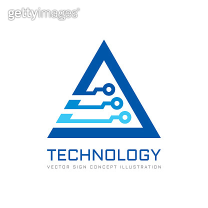 Electronic technology - vector sign template for corporate identity. Abstract digital chip sign. Network, internet tech concept illustration. Triangle design element.