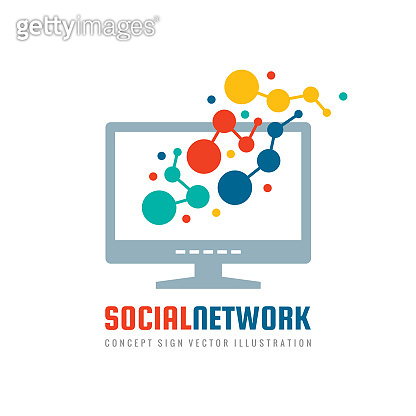 Social network - concept business sign vector illustration. Computer monitor display creative sign with abstract shapes. Modern technology. Graphic design element.