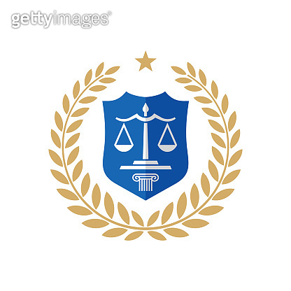 Law badge design with a laurel wreath and shield. Legal concept badge. Justice creative sign. Vector illustration.