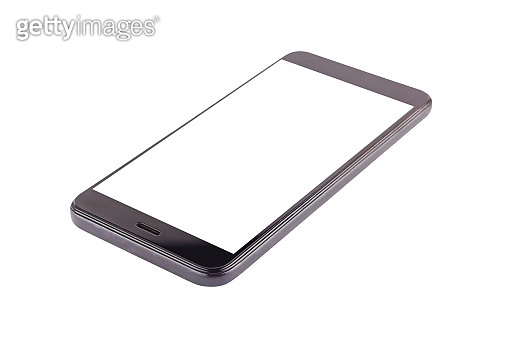 Single black smartphone with isolated blank white screen isolated on white background. Clipping path