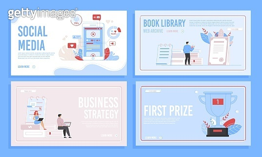 Social Media Services, E-Library Landing Page Set