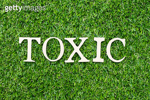 Wood alphabet letter in word toxic on green grass background