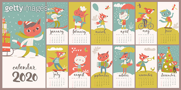 Vector 2020 calendar with funny foxes and cats in flat style