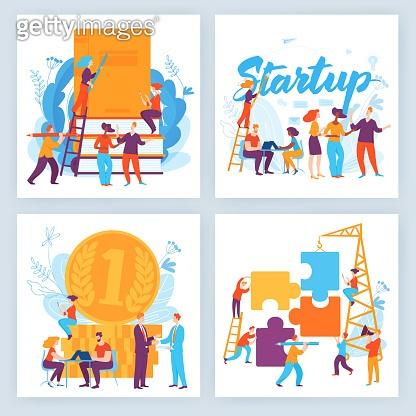 Set of four vector business concept slide designs
