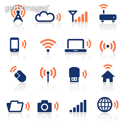 Wireless Technology Two Color Icons Set