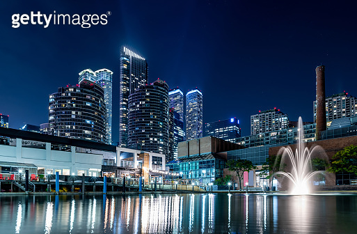 Toronto harbourfront skyline at night with fountain