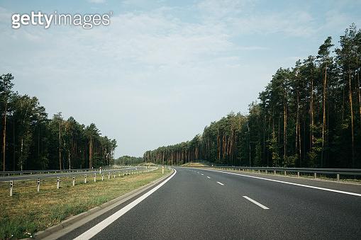 Empty asphalt road summer sunny day
