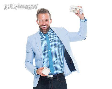 One man only / one person / waist up / front view / looking at camera of 30-39 years old adult handsome people brown hair / with beard / short hair caucasian male / young men business person / businessman standing who is smiling / happy / cheerful