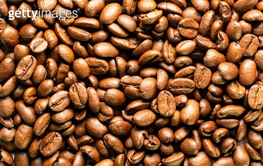 Coffee beans background image, full frame top view