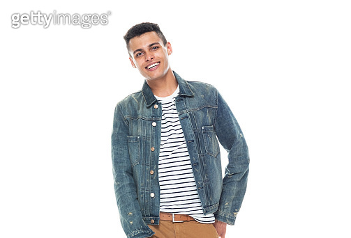One person / full length / front view / waist up of 20-29 years old adult handsome people / tall person african ethnicity / african-american ethnicity male / young men dancer dancing / exercising in front of white background wearing denim jacket
