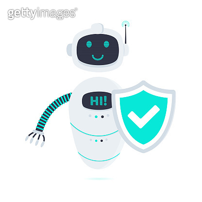Robot chatbot icon sign flat style design vector illustration isolated on white background. Cute AI bot helper mascot character concept symbol business assistant with protection shield.