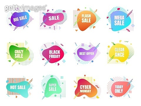 12 modern liquid abstract sale set. Clearance, big sale, black friday, special offer, hot price etc text gradient flat style design fluid vector colorful vector illustration banner shape advertising