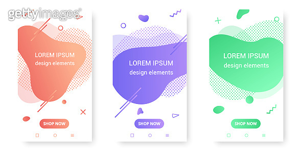 3 Modern liquid abstract element shape gradient  style design fluid vector colorful illustration banner set simple shape template for presentation, flyer, brochure isolated on white background.