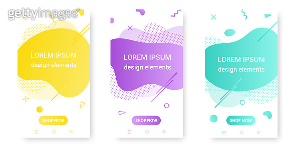 3 Modern liquid abstract element shape gradient retro style design fluid vector colorful illustration banner set simple shape template for presentation, flyer, brochure isolated on white background.